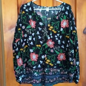 Old Navy ladies XXL floral tunic top w long sleeve